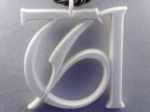 Monogram Initials TA Pendant  in Natural Silver