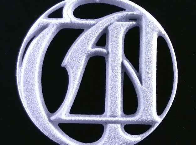 Monogram Initials UA Pendant in Natural Silver