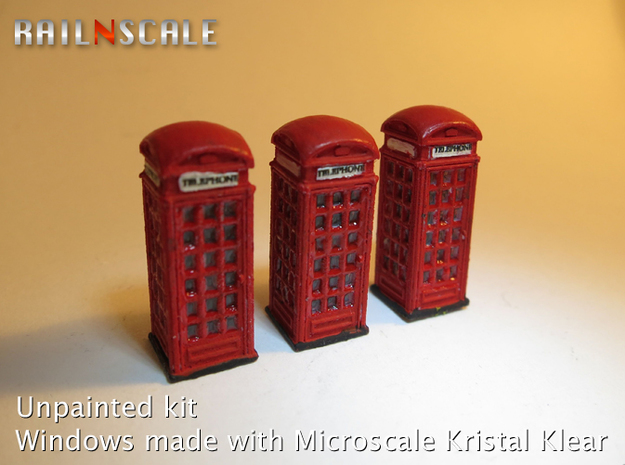 SET 3x Telephone box K2 (N 1:160) in Frosted Ultra Detail
