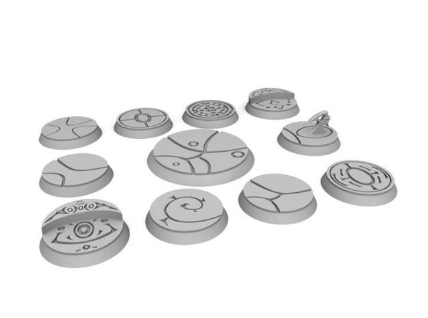 10 25mm and one 40mm alien bases in White Strong & Flexible