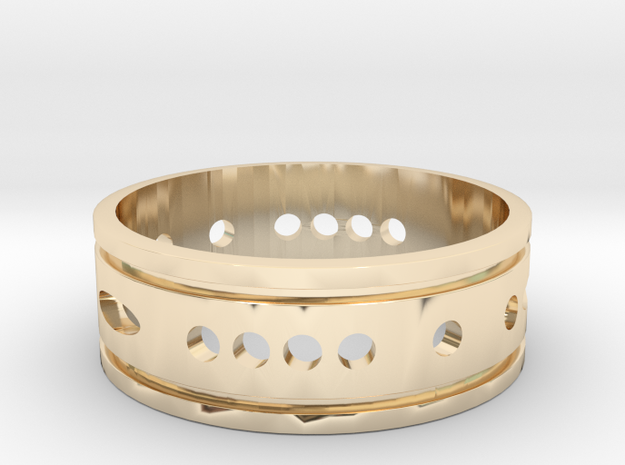 heather_morse_code_wedding_ring in 14K Yellow Gold: 8 / 56.75