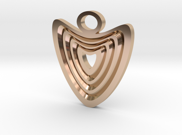 Heart with grooves Pendant in 14k Rose Gold Plated Brass