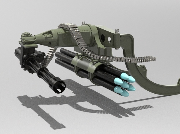 1.7 GUNSHIP MINIGUN in Smooth Fine Detail Plastic
