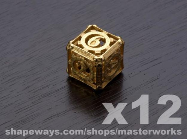 Steampunk 12d6 Set 3d printed Gold Plated Glossy