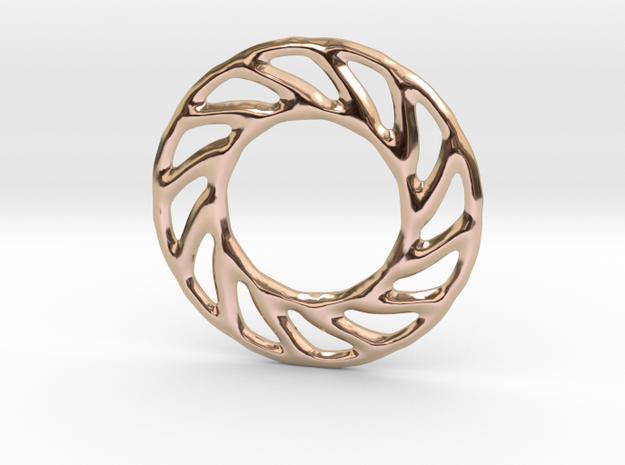 Soft spiral mandala shape for earrings or pendant in 14k Rose Gold Plated Brass