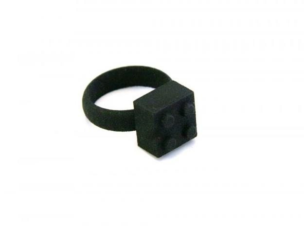Building Blocks Ring 3d printed Black Strong & Flex