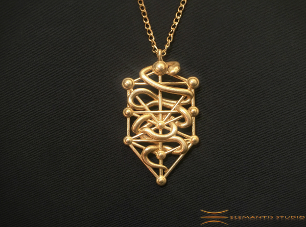 Kabbalah Serpent Pendant 4.5cm in Natural Brass