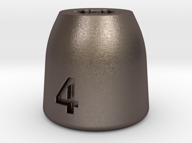 Ultra compact 4mm socket. Stainless steel. in Polished Bronzed Silver Steel
