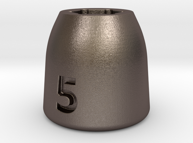 Ultra compact 5mm socket. Stainless steel. in Polished Bronzed Silver Steel