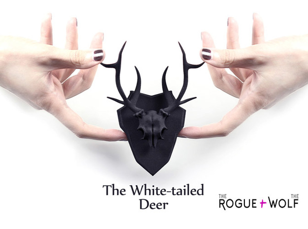The White-tailed Deer Mini Faux Taxidermy in Black Natural Versatile Plastic