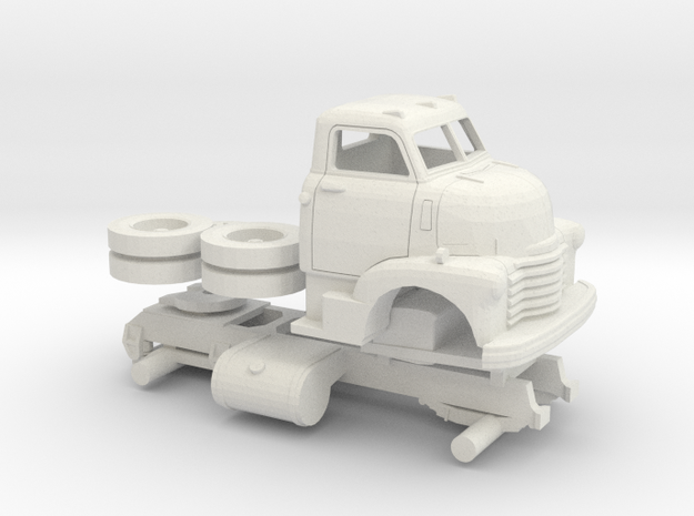 1/50 1949 Chevy COE Semi Truck Kit in White Natural Versatile Plastic