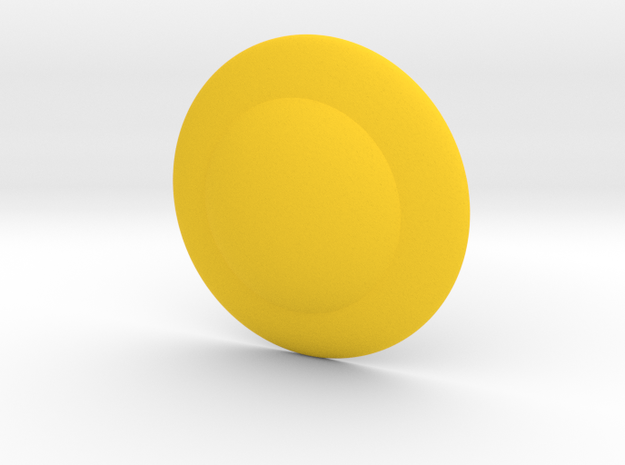 Shield Button in Yellow Processed Versatile Plastic