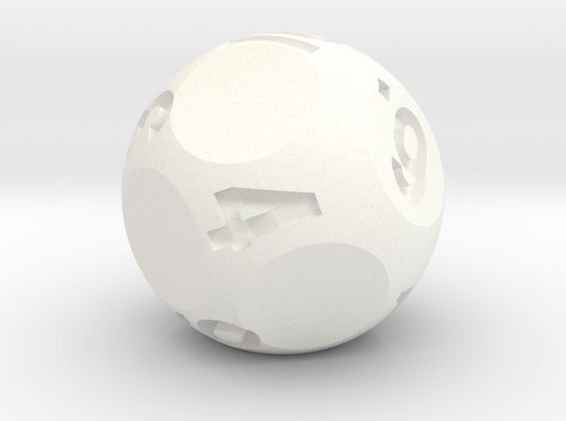 d10 Jumbo Sphere Dice - Numbered 1-10 in White Processed Versatile Plastic