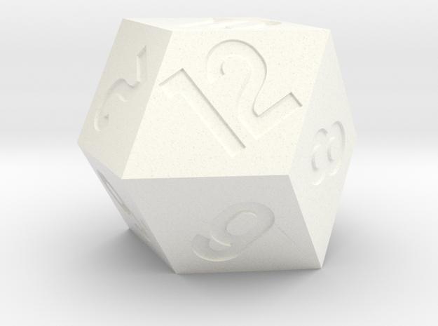 Jumbo Rhombic D12 in White Processed Versatile Plastic