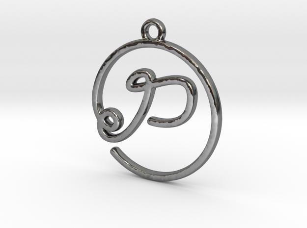 P Script Monogram Pendant in Premium Silver