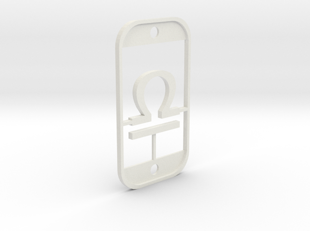 Libra (The Scales) DogTag V3 in White Natural Versatile Plastic