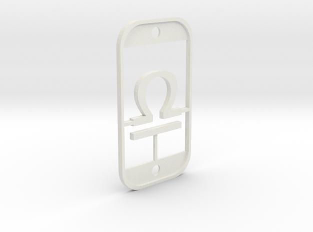 Libra (The Scales) DogTag V3 in White Natural Versatile Plastic
