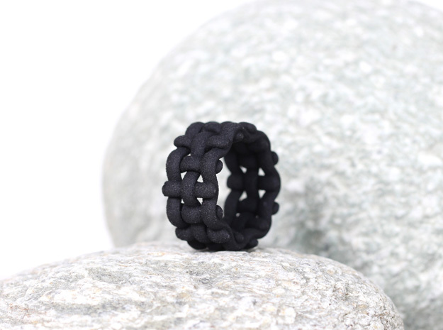 black statement ring wide band woven structure in Black Premium Versatile Plastic: 6 / 51.5