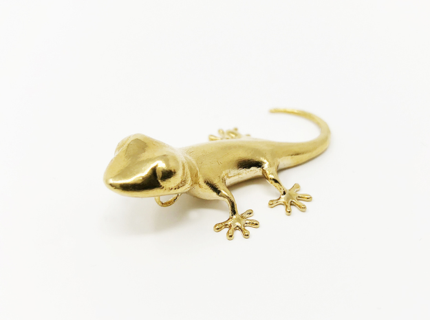 GECKO Pendant, 4cm length in Natural Brass