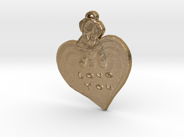 I love you with puppy in Polished Gold Steel