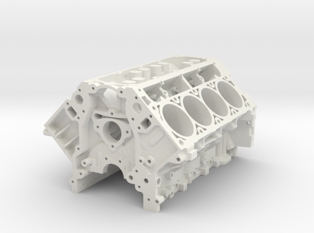 1/8 Scale LS3 Engine Block in White Natural Versatile Plastic: 1:8