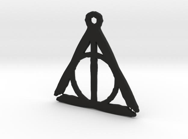 Deathly Hallows inspired rough pendant in Black Natural Versatile Plastic