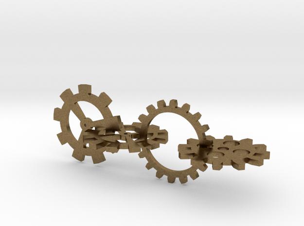 Steampunk Gears in Natural Bronze (Interlocking Parts)