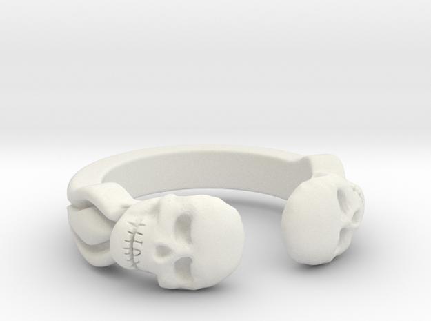 Joker's Double-Skull Ring - Plastics in White Strong & Flexible: 7 / 54