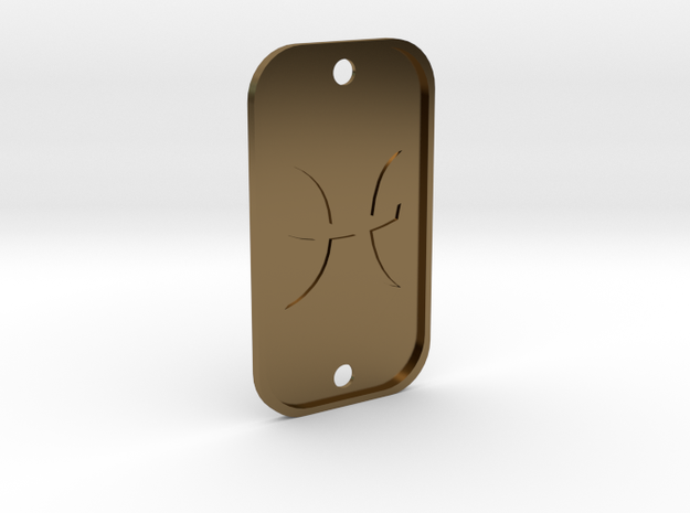 Pisces (The Fish) DogTag V4 in Polished Bronze