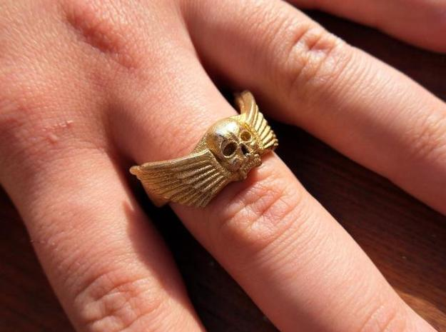 Winged Skull Ring in White Strong & Flexible