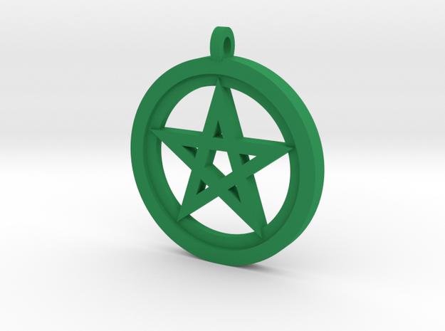 Rider-Waite Pentacle Pendant in Green Processed Versatile Plastic