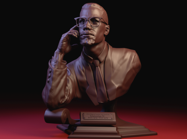 5 Inch miniature hand sculpted bust of Malcolm X in White Processed Versatile Plastic