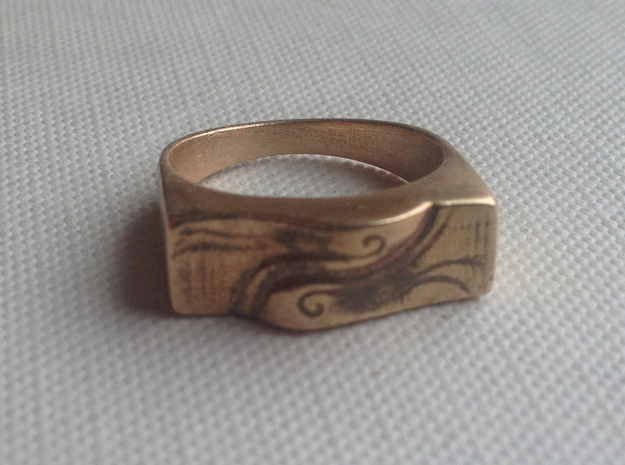 Spirit Of the Wind Ring 3d printed Raw Bronze