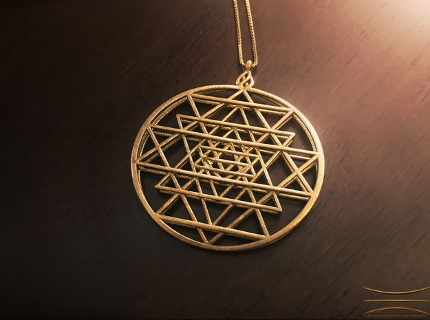 2.5D Sri-Yantra 4.5cm (Raw Metals) in Raw Brass