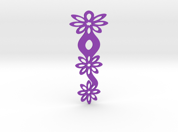 Floral bookmark - variant II in Purple Processed Versatile Plastic