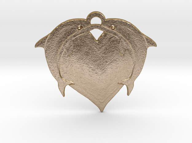 Dolphin Heart in Polished Gold Steel