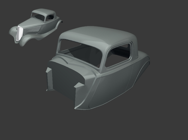 1933 Ford Coupe Body  - 1:8 & 1:12 & 1:16 in White Natural Versatile Plastic: 1:16