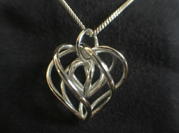 My Heart is Yours - Heart in a heart pendant in Polished Silver (Interlocking Parts)