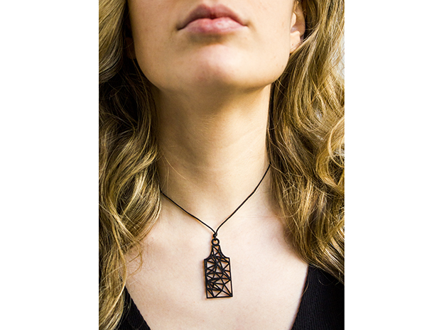Amsterdam Canal House Wireframe Pendant in Black Natural Versatile Plastic