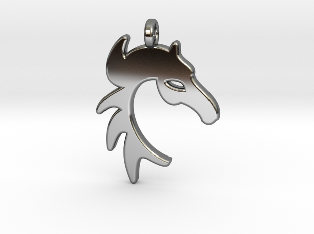 HORSE PENDANT in Fine Detail Polished Silver