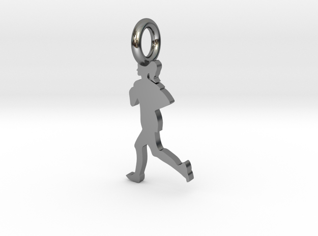 FEMALE RUNNER in Fine Detail Polished Silver