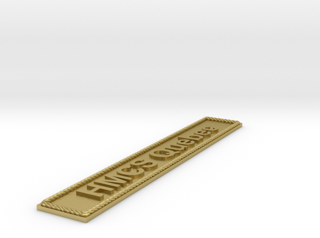 Nameplate HMCS Quebec in Natural Brass