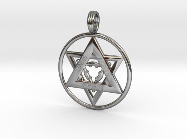 MIND, BODY, SPIRIT TRINITY in Fine Detail Polished Silver
