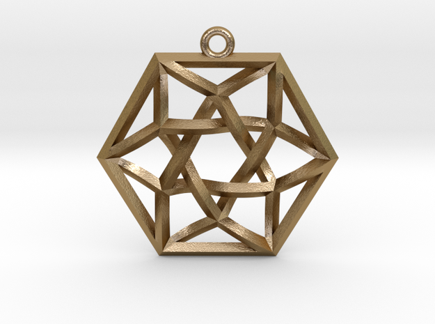 """Woven Vector Equilibrium Pendant v1 1.4"""" in Polished Gold Steel"""