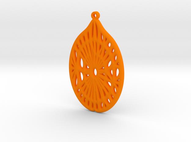 Voronoi Catenoid Curve Earring (001c) in Orange Processed Versatile Plastic