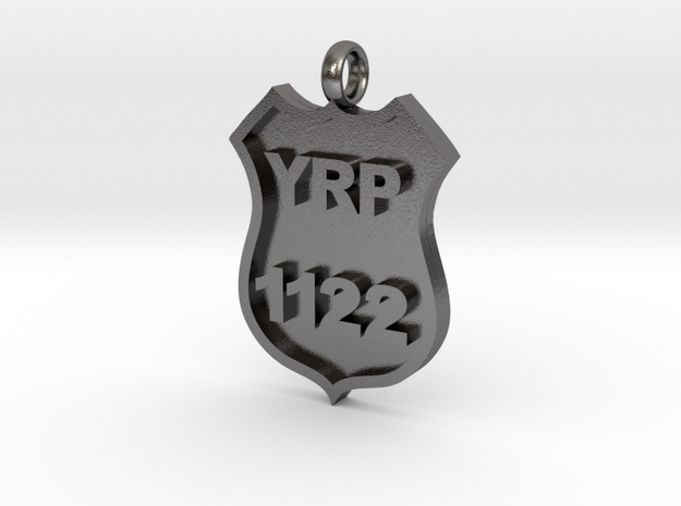 Police Badge Pendant in Polished Nickel Steel