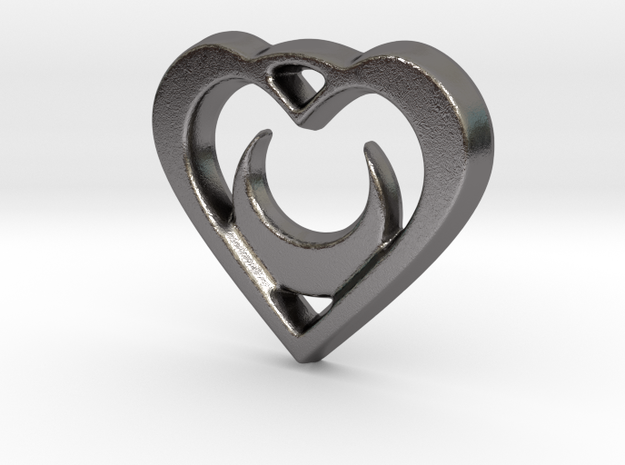 Crescent Moon Heart - 25mm Pendant in Polished Nickel Steel