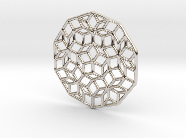 Penrose Pendant in Rhodium Plated Brass