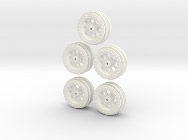 1/16 WPL C14 Toyota Hilux Wheels in White Processed Versatile Plastic