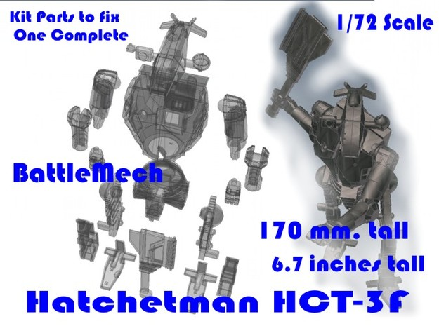 1-72 BattleMech Hatchetman In Parts